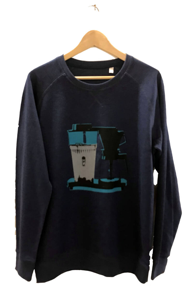 Sweater -Koffie- Heather Indigo. Maat L. Men