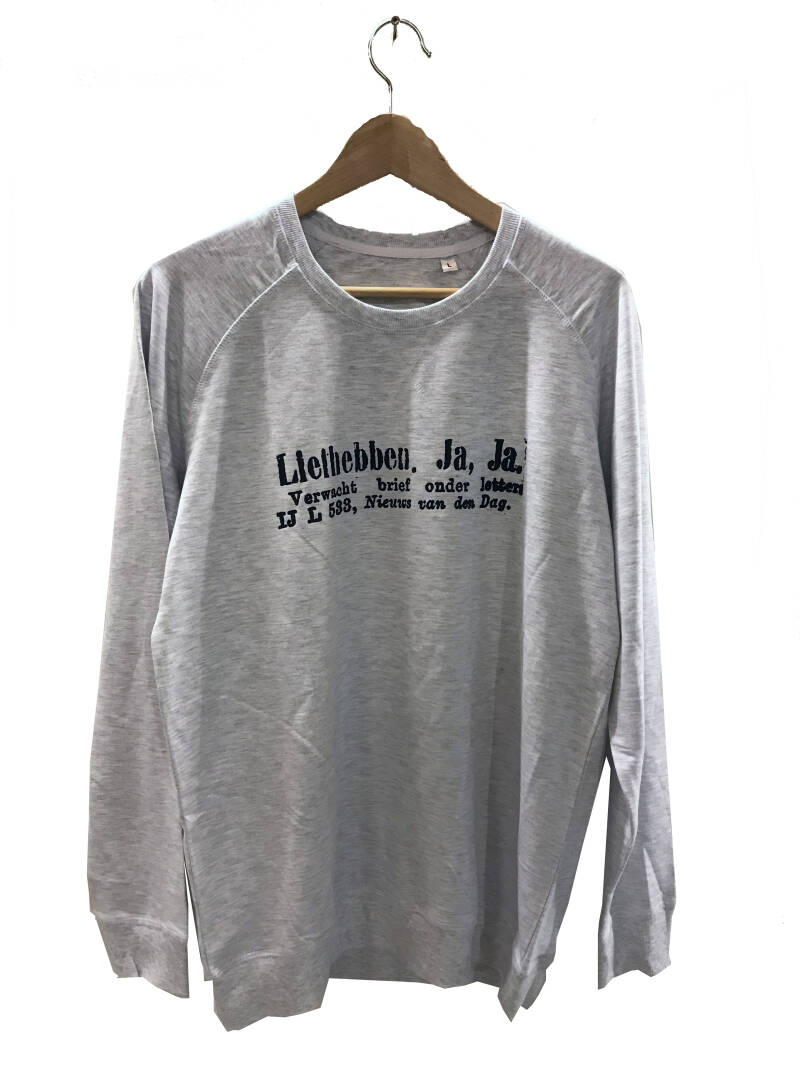 Sweater -Advertentie Liefhebben- Ash Grey. Maat L. Men