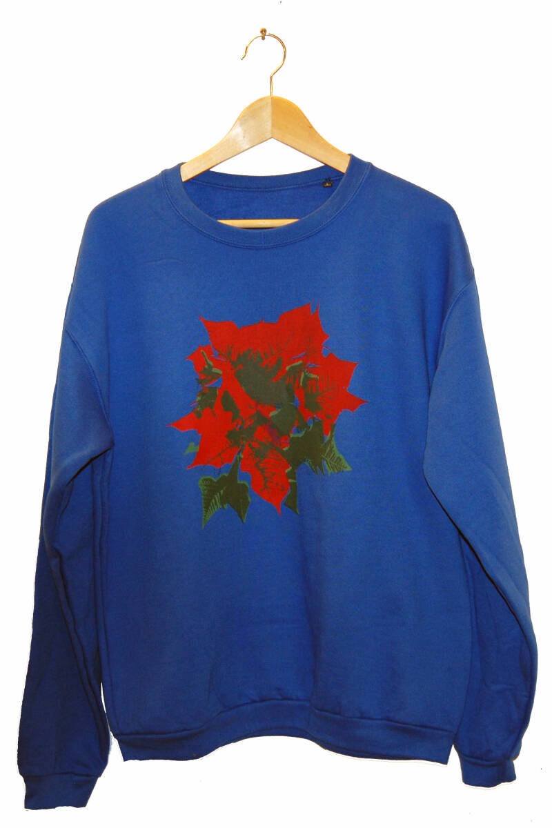 Sweater -Kerstroos-, Royal Blue. Maat L.