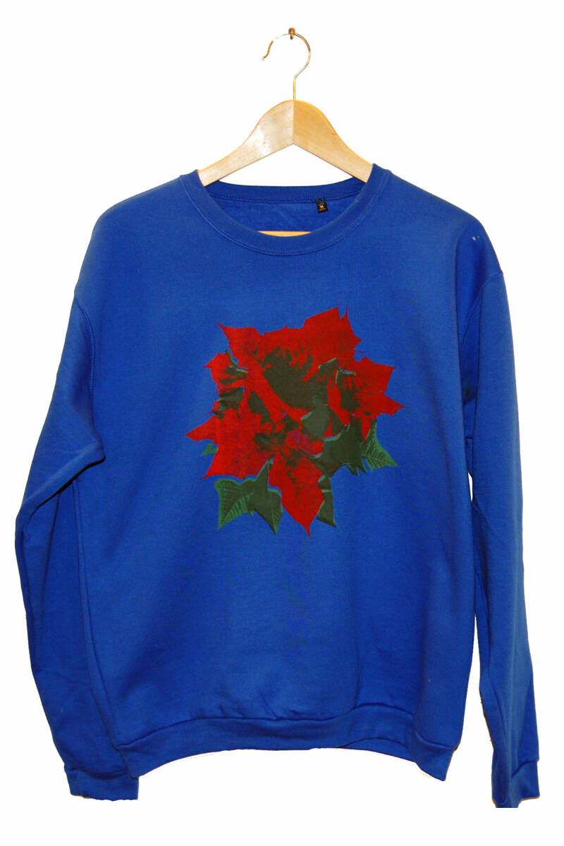 Sweater -Kerstroos-, Royal Blue. Maat M.