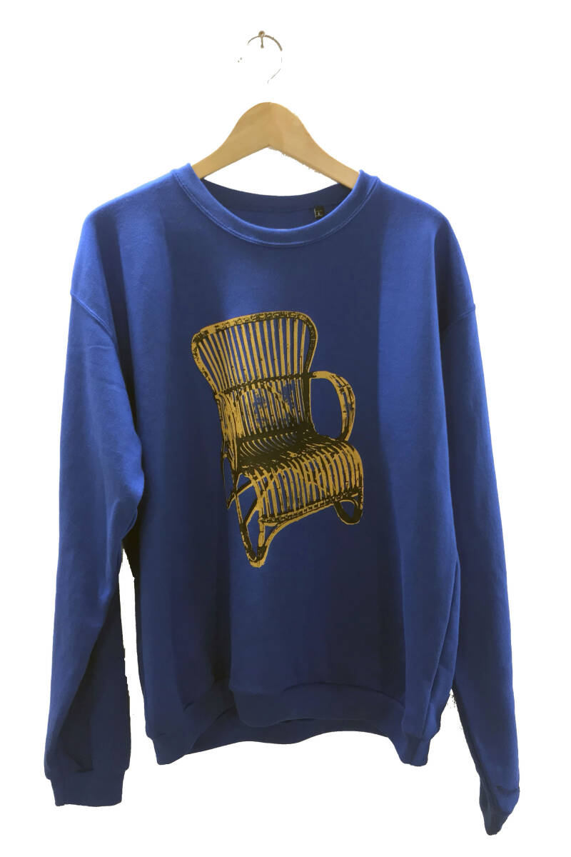 Sweater -Rotan Stoel- Royal Blue. Maat L