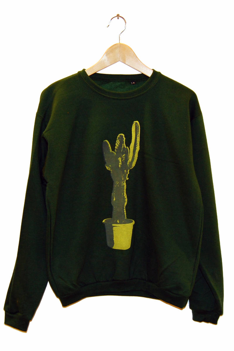 Sweater -Kaktus-, bottle green. Maat M