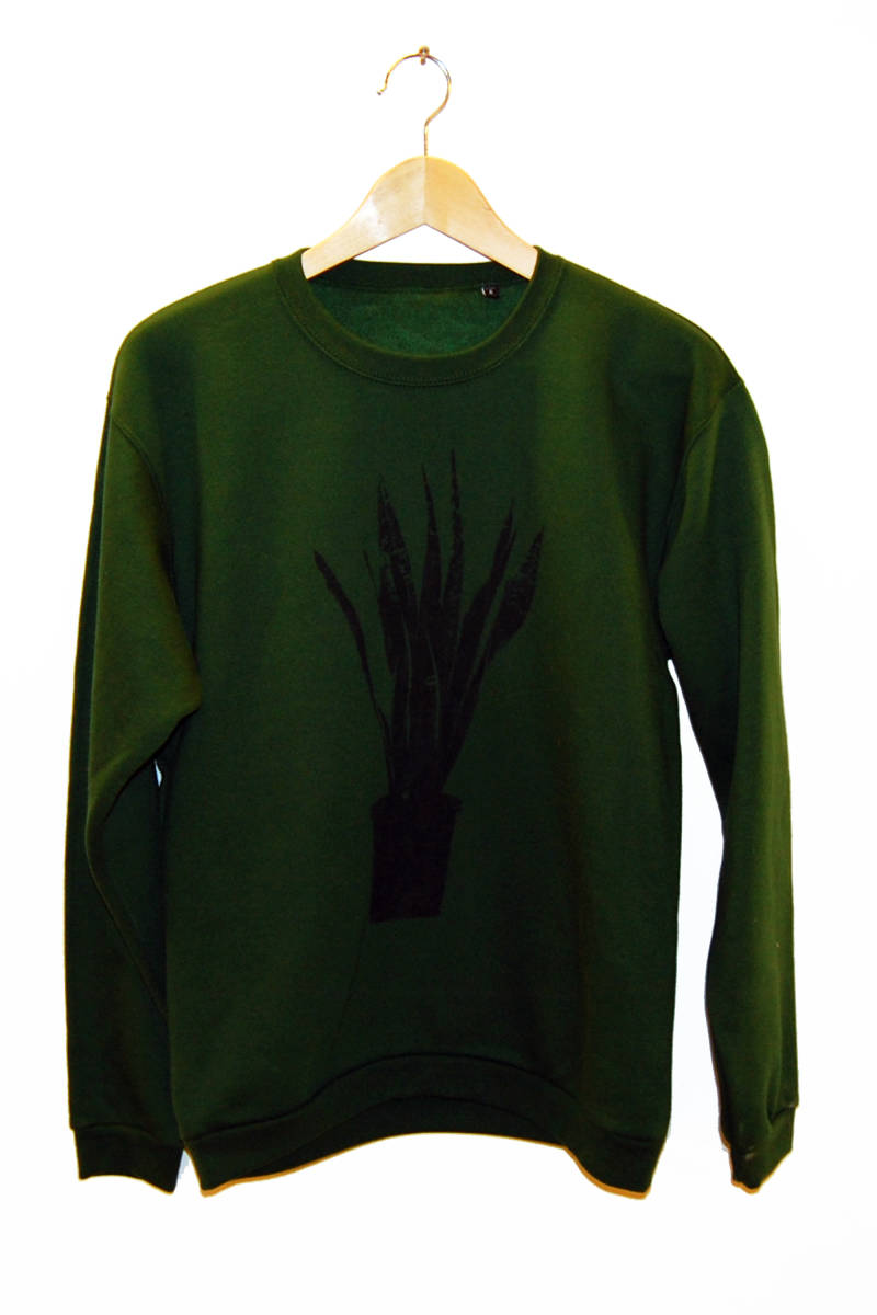 Sweater-Sanseveria-, bottle green. Maat S