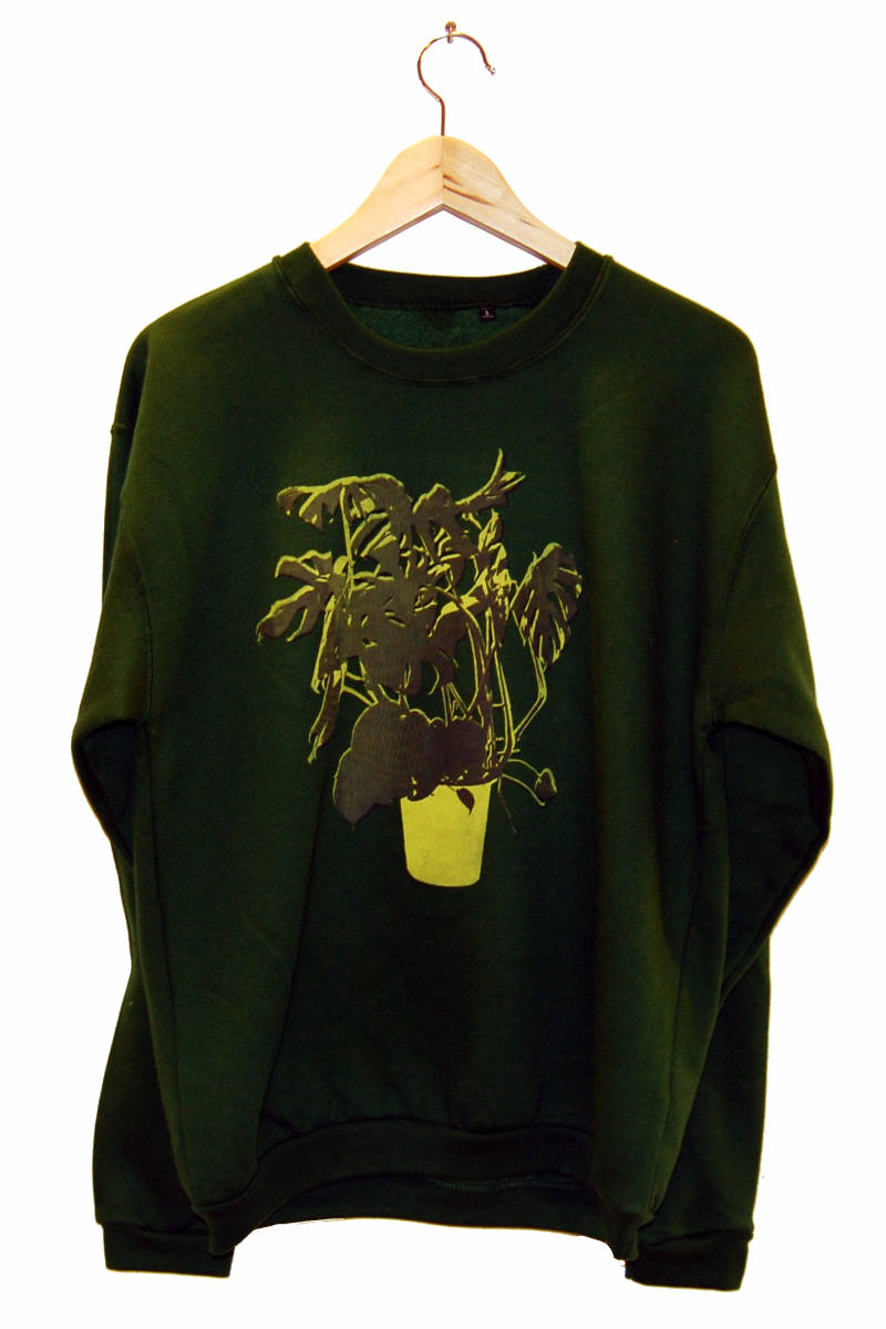 Sweater -Vingerplant-, bottle green. Maat L.