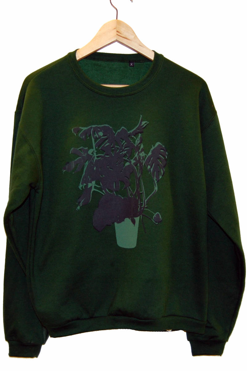 Sweater -Vingerplant-, bottle green. Maat M.