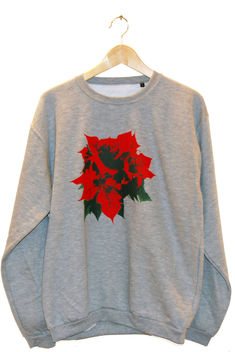 Sweater -Kerstroos- Heather Grey. Maat L