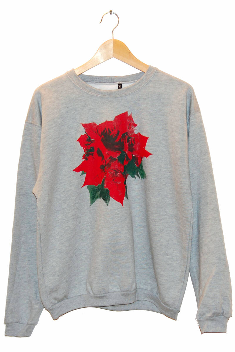 Sweater - Kerstroos-, Heather Grey. Maat M.
