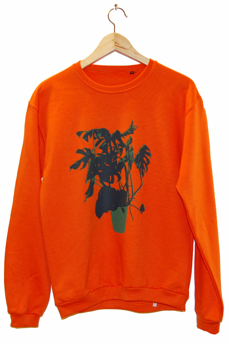 Sweater - Vingerplant -, oranje. Maat S.