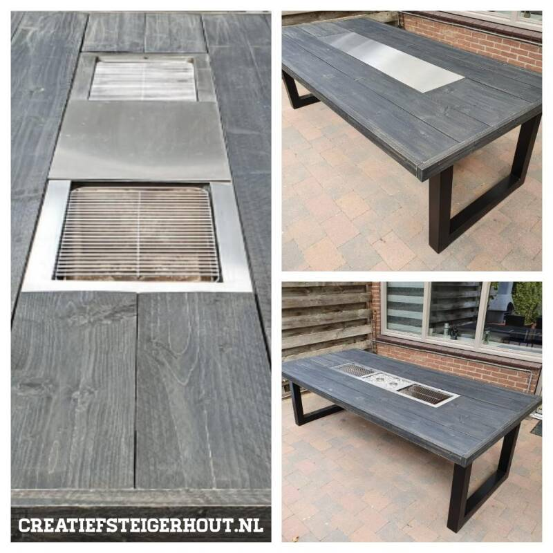 Barbecuetafel steigerhout antracietwash
