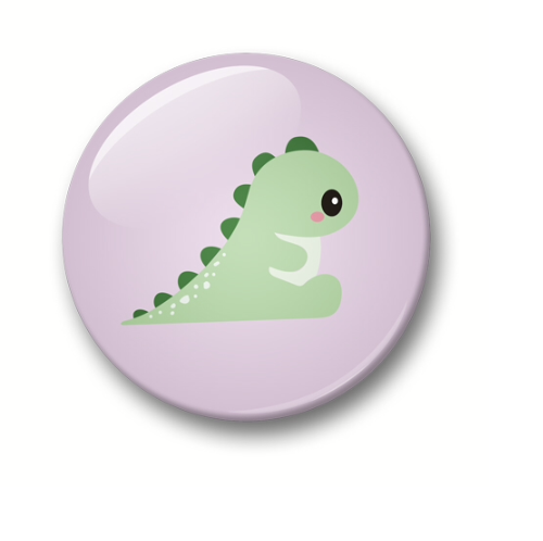 Button: Kawaii dino (32mm) - Studio Inktvis