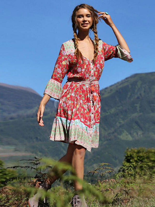 Midi-Dress: Boho Summer Dress Floral Print Button Sleeved Midi Dress For Women