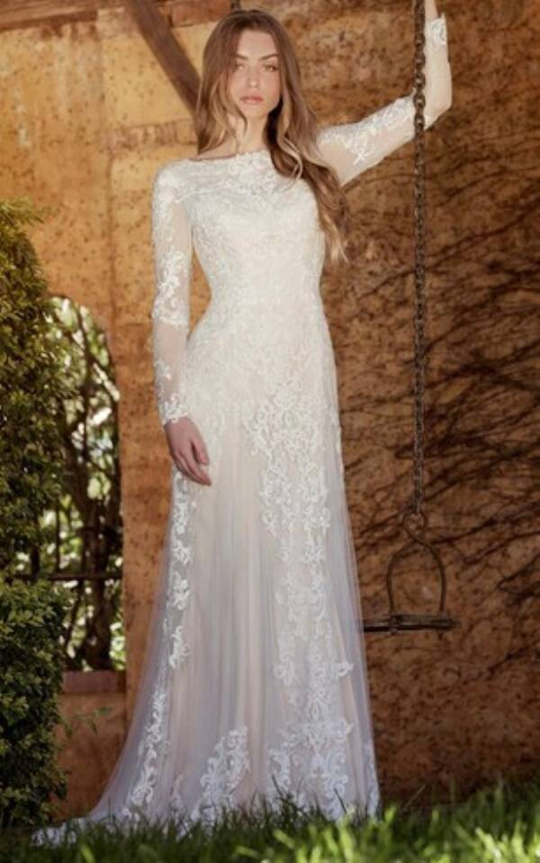Illusion Long Sleeve Tulle Wedding Dress With Appliques MK_703212