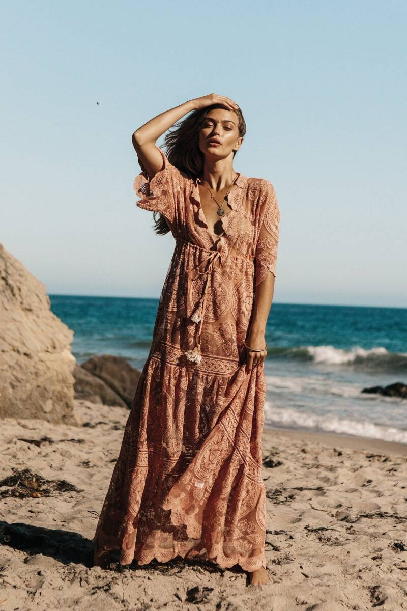 Boho Maxi Dress, Lace Half Sleeve Plunging Knotted Tassels Maxi Summer Dress