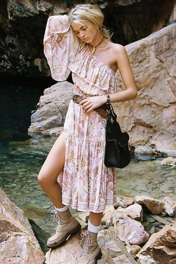 Boho Summer Dresses One Shoulder Floral Print Ruffles Split Women Beach Dress