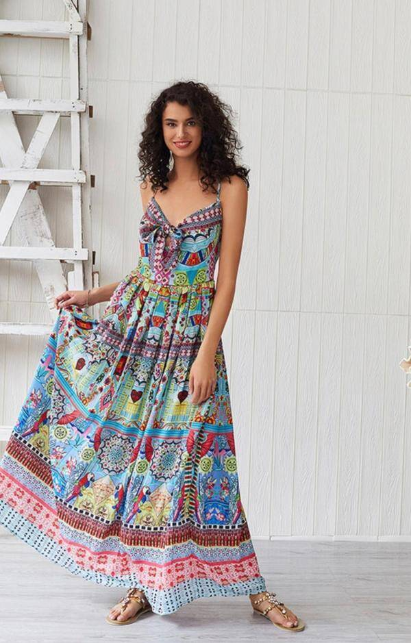 Boho Maxi Dresses Sleeveless Printed Summer Dress Women Slip Dress