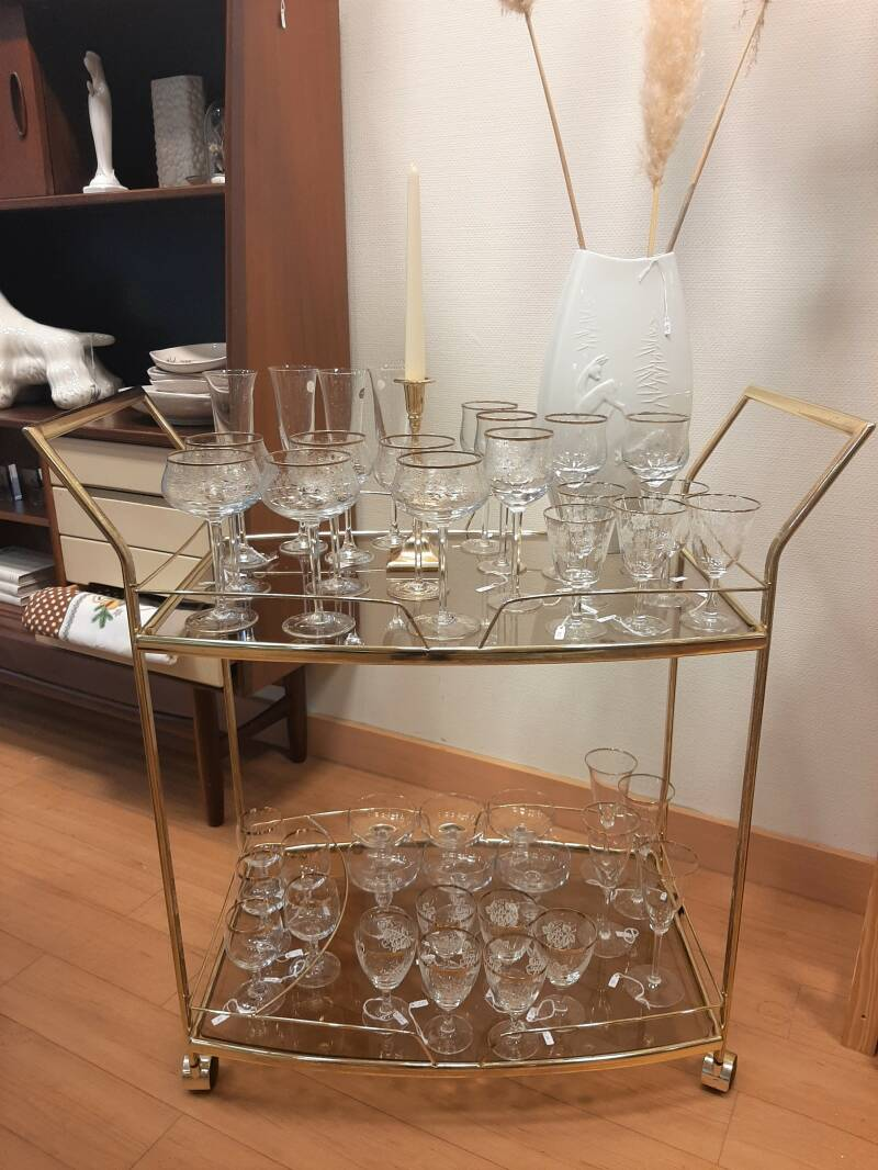 Vintage barcart Hollywood Regency goudkleurig