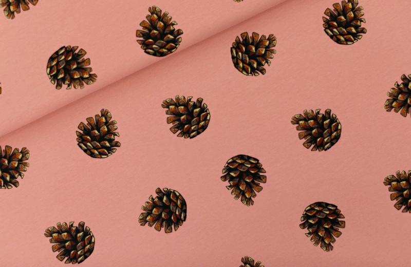 Pine cones - french Terry - brownish pink