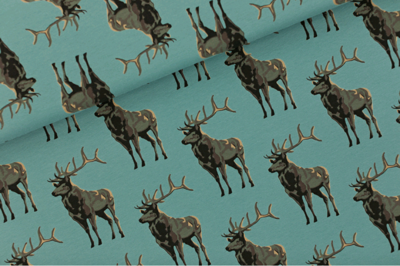 Deer - French Terry - Trellis Blue