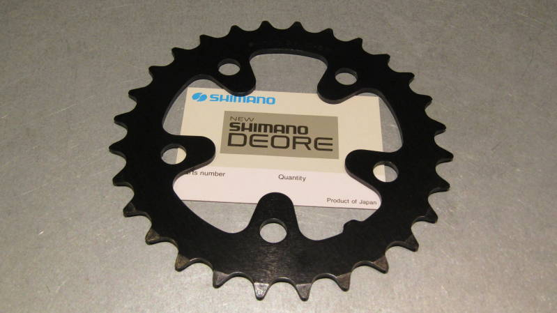 SHIMANO DEORE 28t Round ALLOY BLACK Chainwheel BCD 74mm NOS! BXC00F30