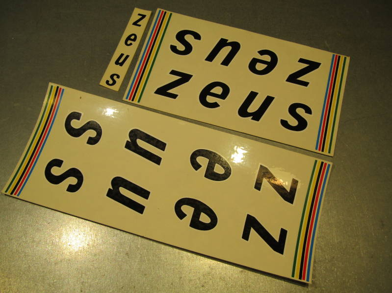 ZEUS FRAME VINTAGE 80's Sticker set ( BLACK ) 3 pieces NOS! BXC00B24