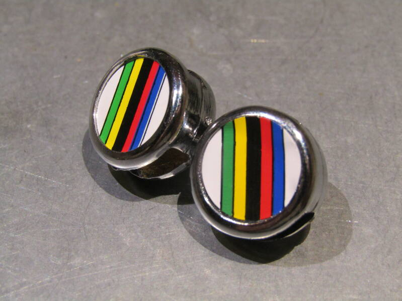 CICLOLINEA WORLD CHAMPION Stripe toe-strap end buttons 2X NOS! BZXC00F24