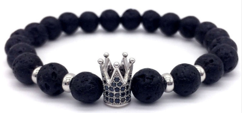 Silver Crown Trendy Armband   Lava Stone Armband   Trendy   Zilver Kroon Armband