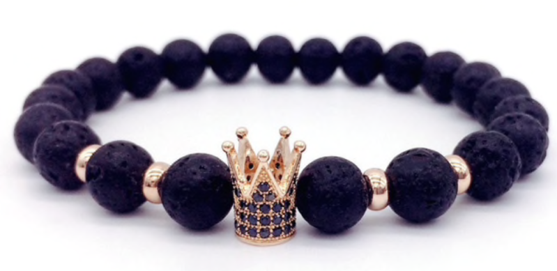 Gold Crown Trendy Armband | Lava Stone Armband | Trendy | Goud Kroon Armband