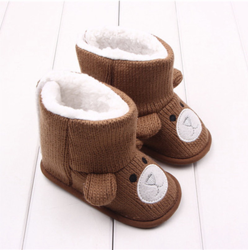 Baby beer Booties Bruin - Baby Schoenen Beer Wol Winter Pantoffels Warm