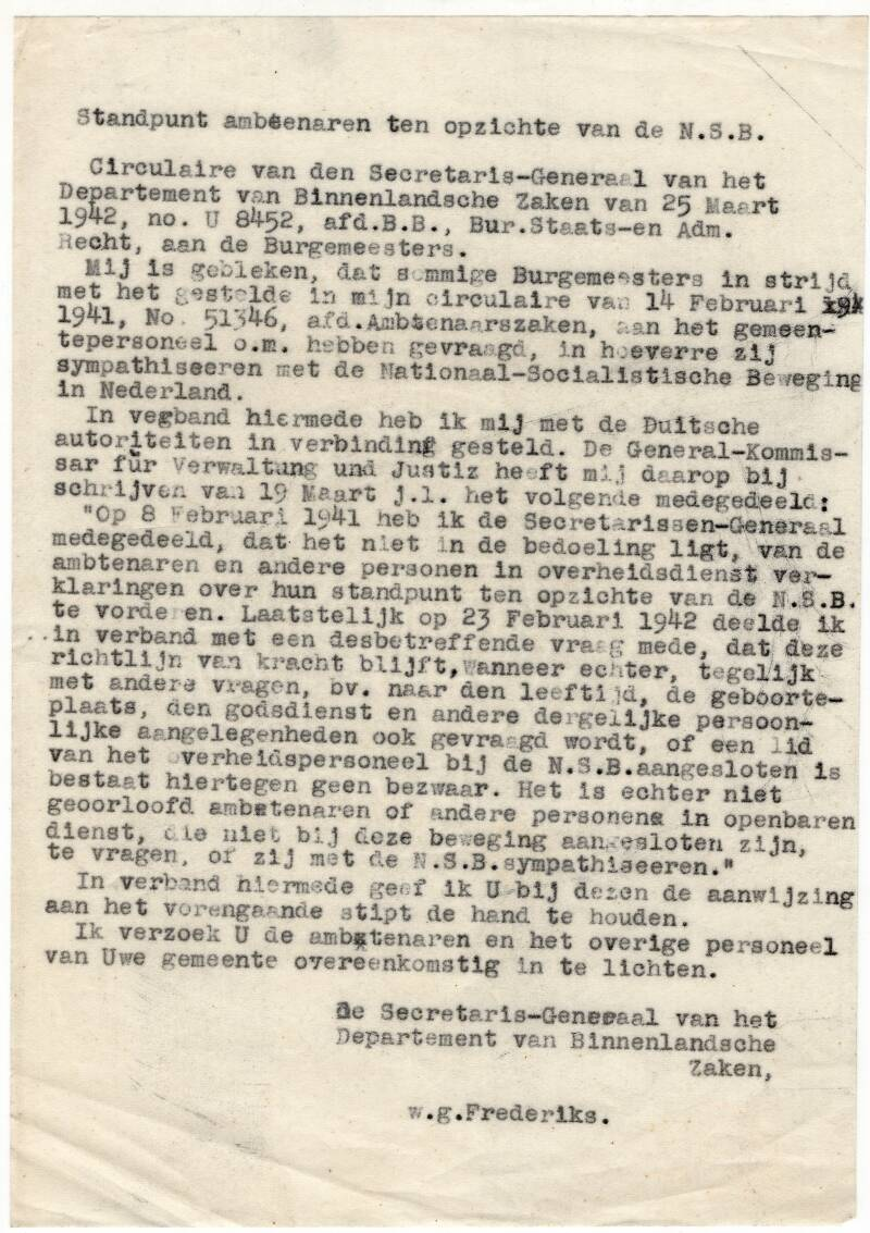 Position of civil servants towards the Dutch NSB, by Frederiks. Circular 25th of March, 1942.