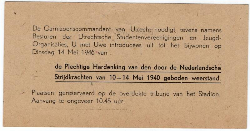 Invitation to the commemoration of the Dutch Armed Forces May 10-14, 1940 in Utrecht.