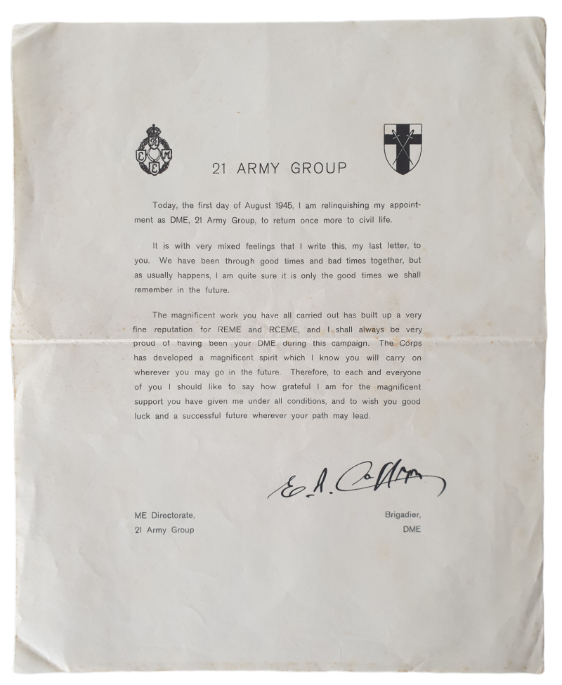 Letter 21 army group end of the war.