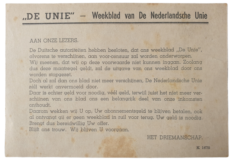 De Unie notice for their newspaper being prohibited