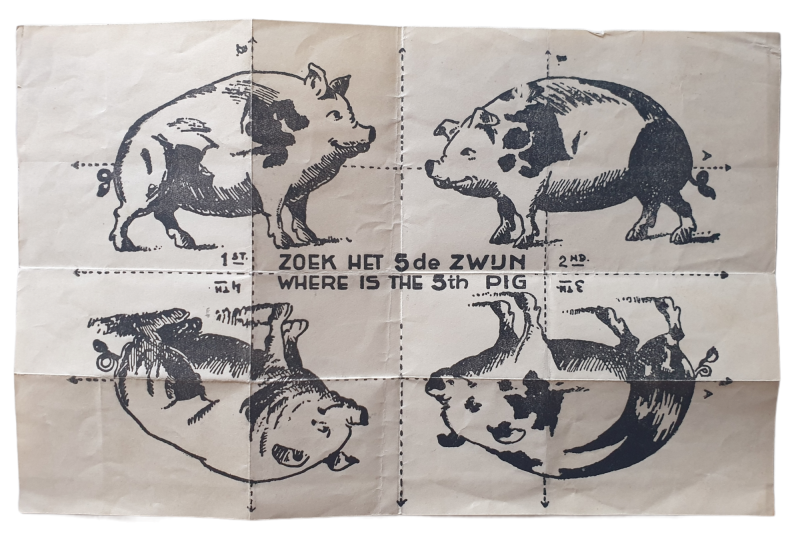 Flyer find the 5th pig Dutch