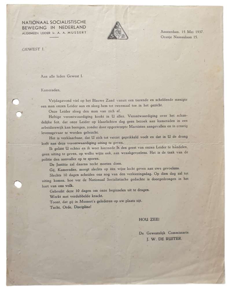 NSB letter -  Response on the attack on Mussert on Blauwe Zand