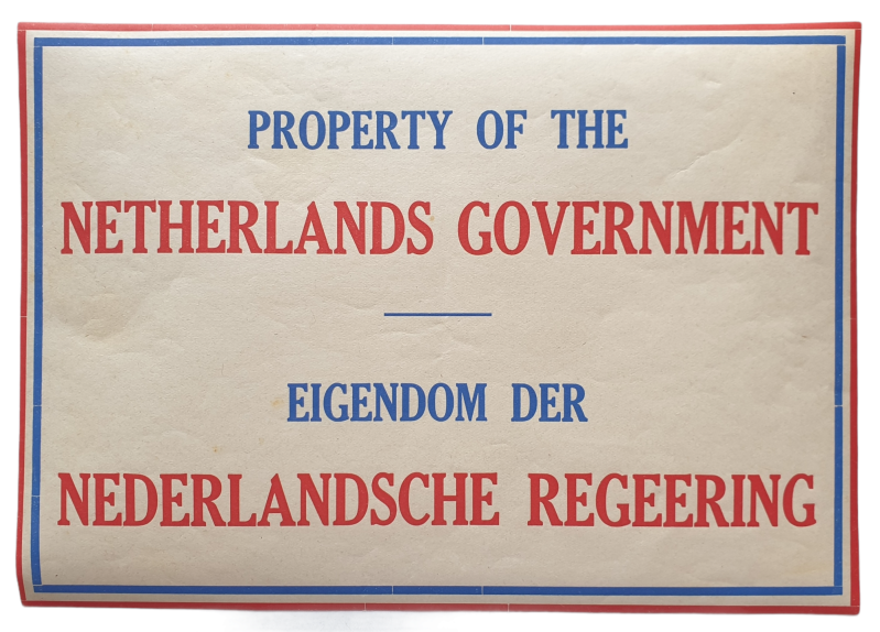 Sticker ''Property of the Netherlands Government''