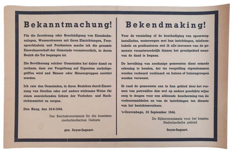 Poster notice ''actions against vandalism'' Seyss Inquart 24th of September 1944 The Hague