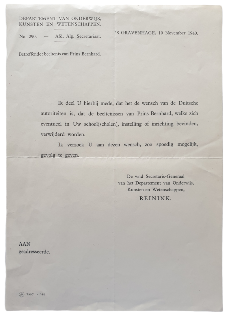 Document - Prohibition on portraits of the Dutch Prince Bernhard in schools, 19h of November 1940