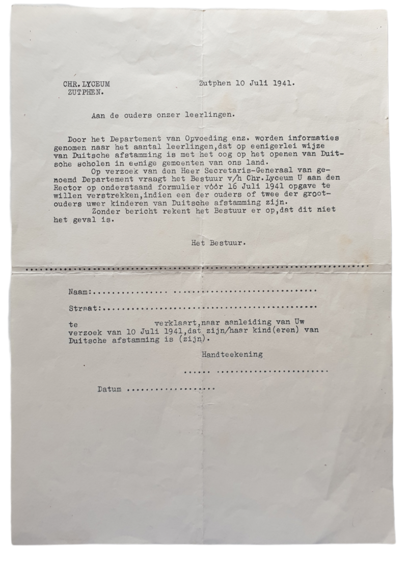 Document - Zutphen students with German descent, 10th of July 1941