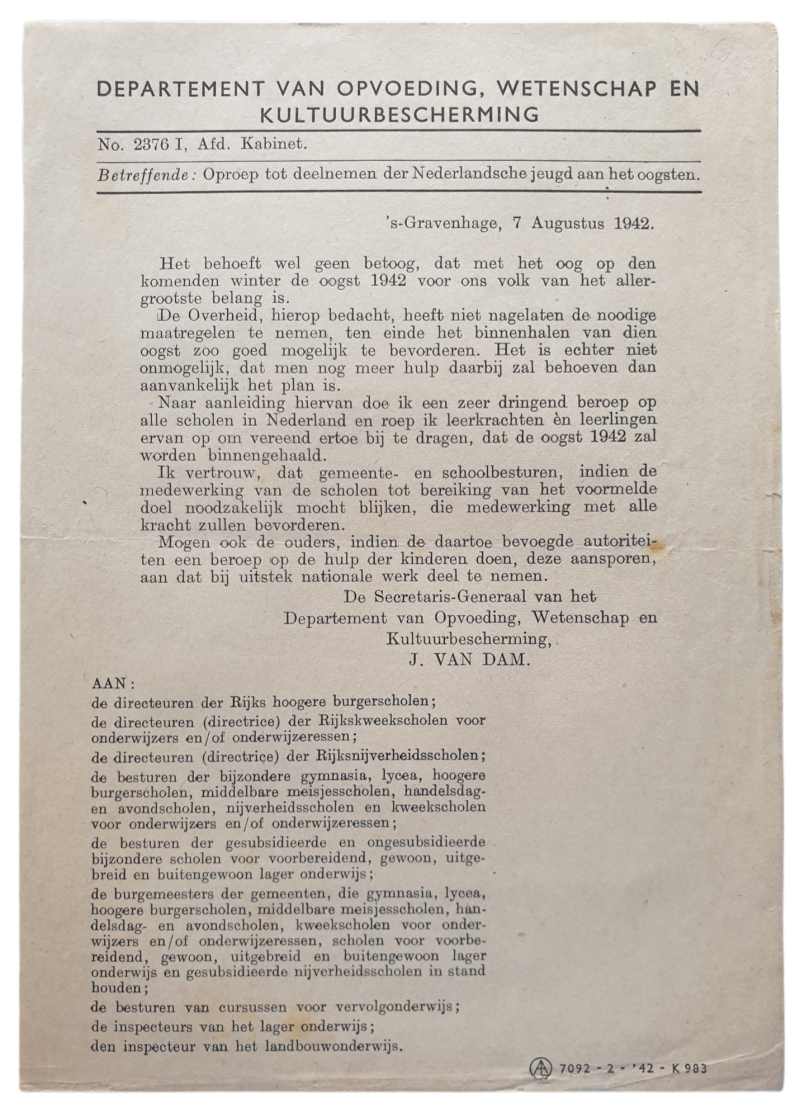 Document - Call for the Dutch youth to participate in the harvest, 7th of August 1942
