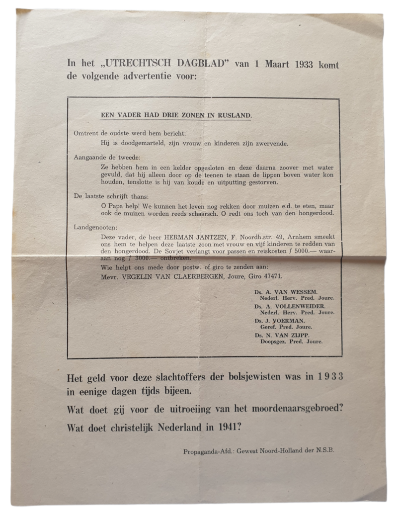 NSB flyer - ''victims of Bolsjewism in 1933'' NSB Noord-Holland