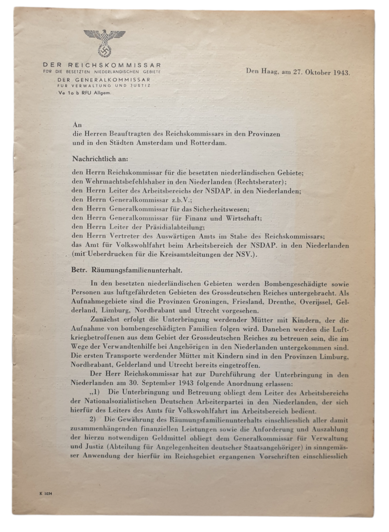 Document - Family eviction for home maintenance after a bombing, 27th of October 1943