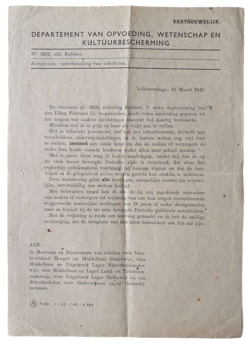 Document - forced employment of Dutch students 16th of March 1943