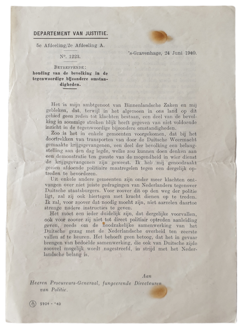Document - Notice attitude of the population 24th of June 1940