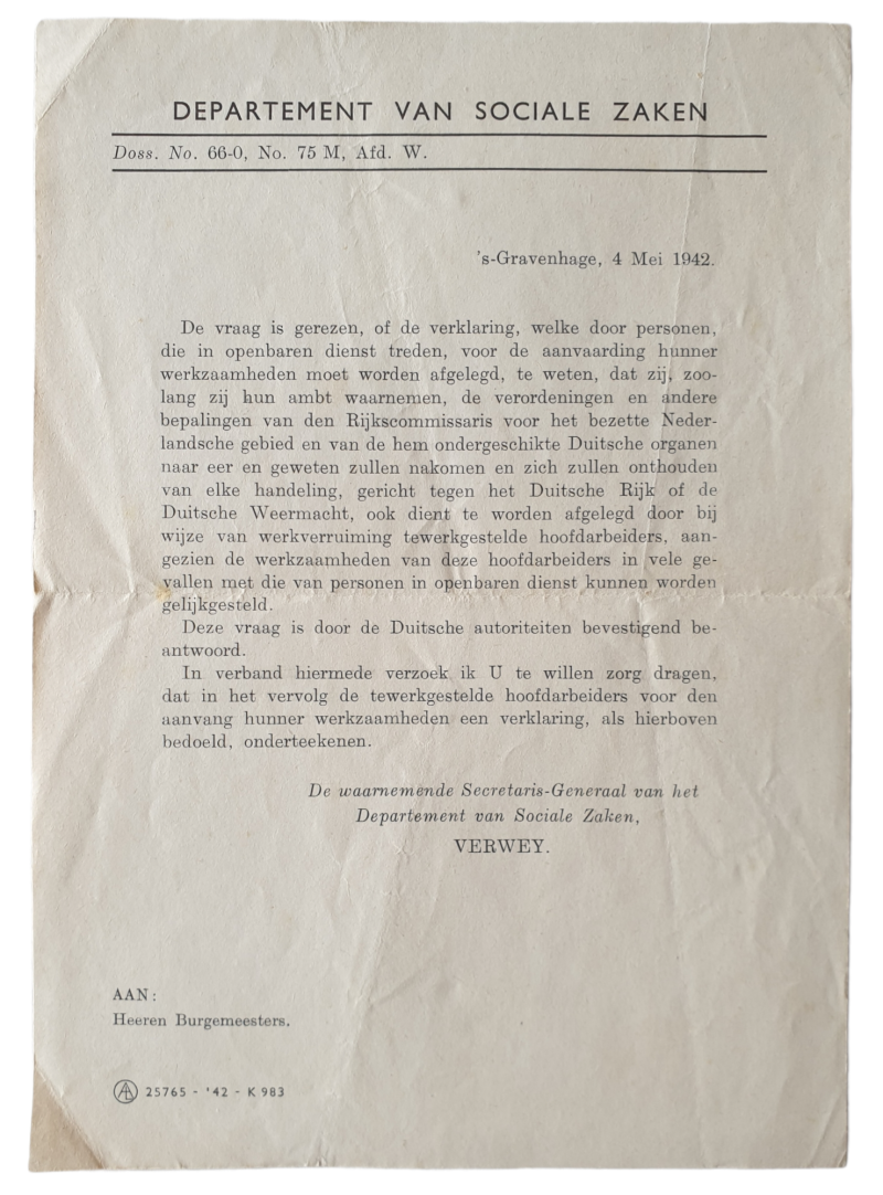 Document - Notice showing loyalty to the government as a civil servant