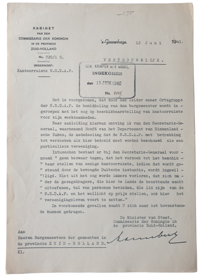 Document - Giving the NSDAP workplaces in the Netherlands