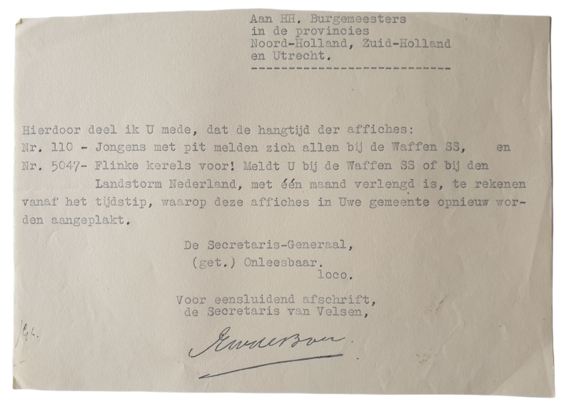 Document - Extension of the duration for put up Dutch Waffen SS posters
