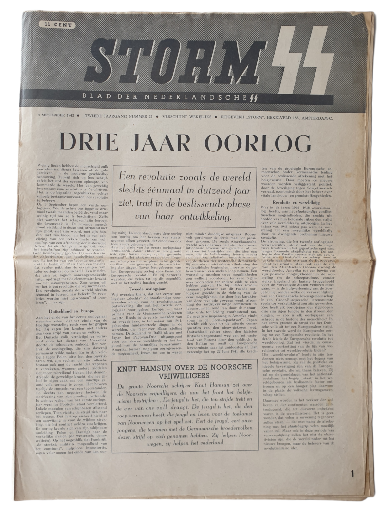 Dutch SS newspaper - Storm SS second year no 22 4th of September 1942