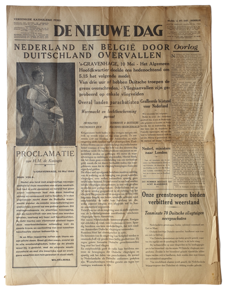 Newspaper - De Nieuwe Dag 10th of May 1940 Netherlands at war with Germany