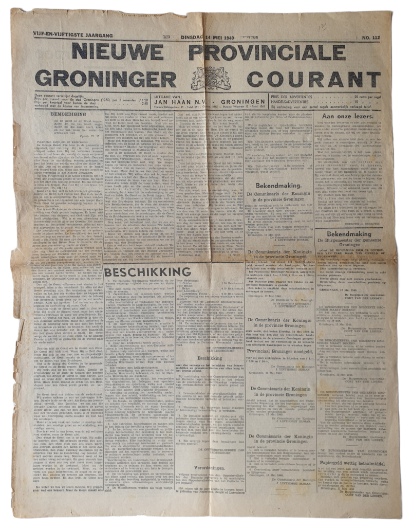 Newspaper - Nieuwe provinciale Groninger Courant 14th of May 1940