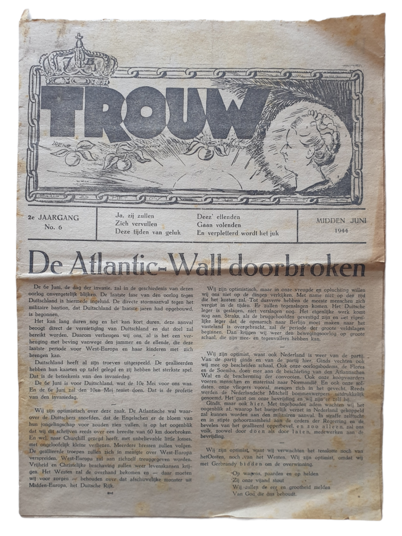 Resistance newspaper ''Trouw'' 2nd year no. 6 1944 D-Day